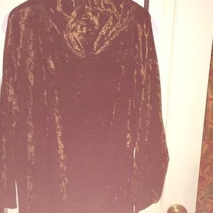 Tops - Brown velvet long sleeve top, XL cowl turtleneck